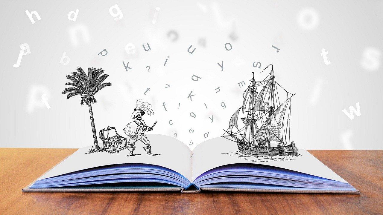 libro, lettere e disegni