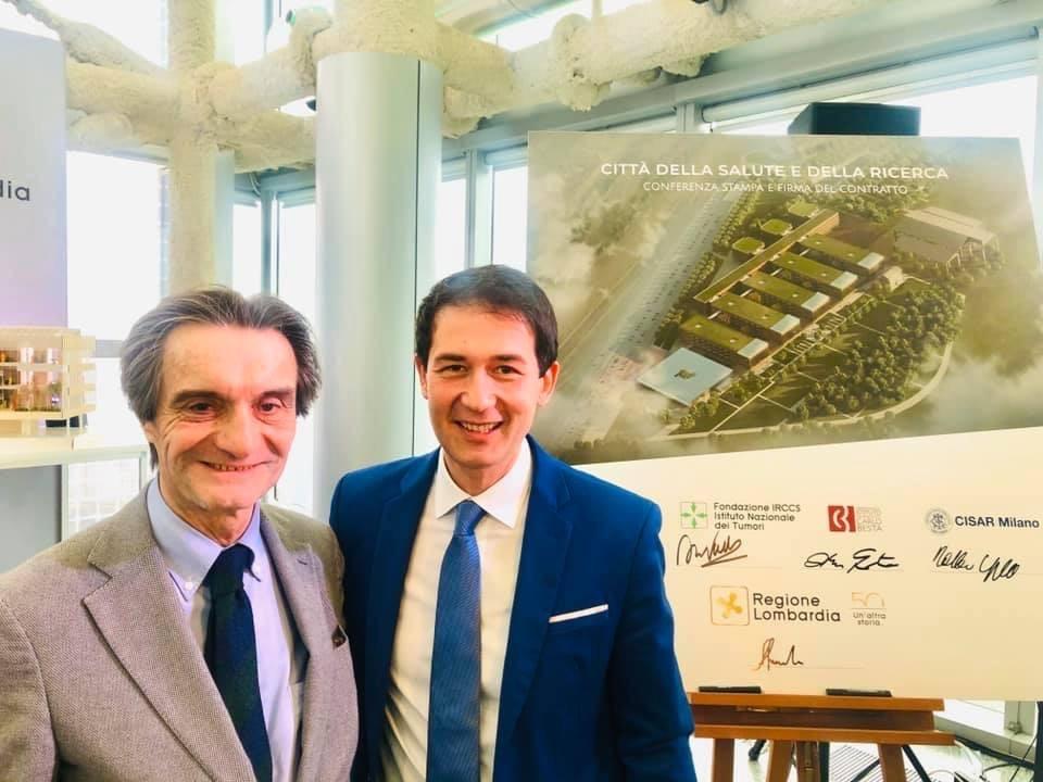 Sindaco Roberto di Stefano con incontro per Città della Salute e della Ricerca con Fontana