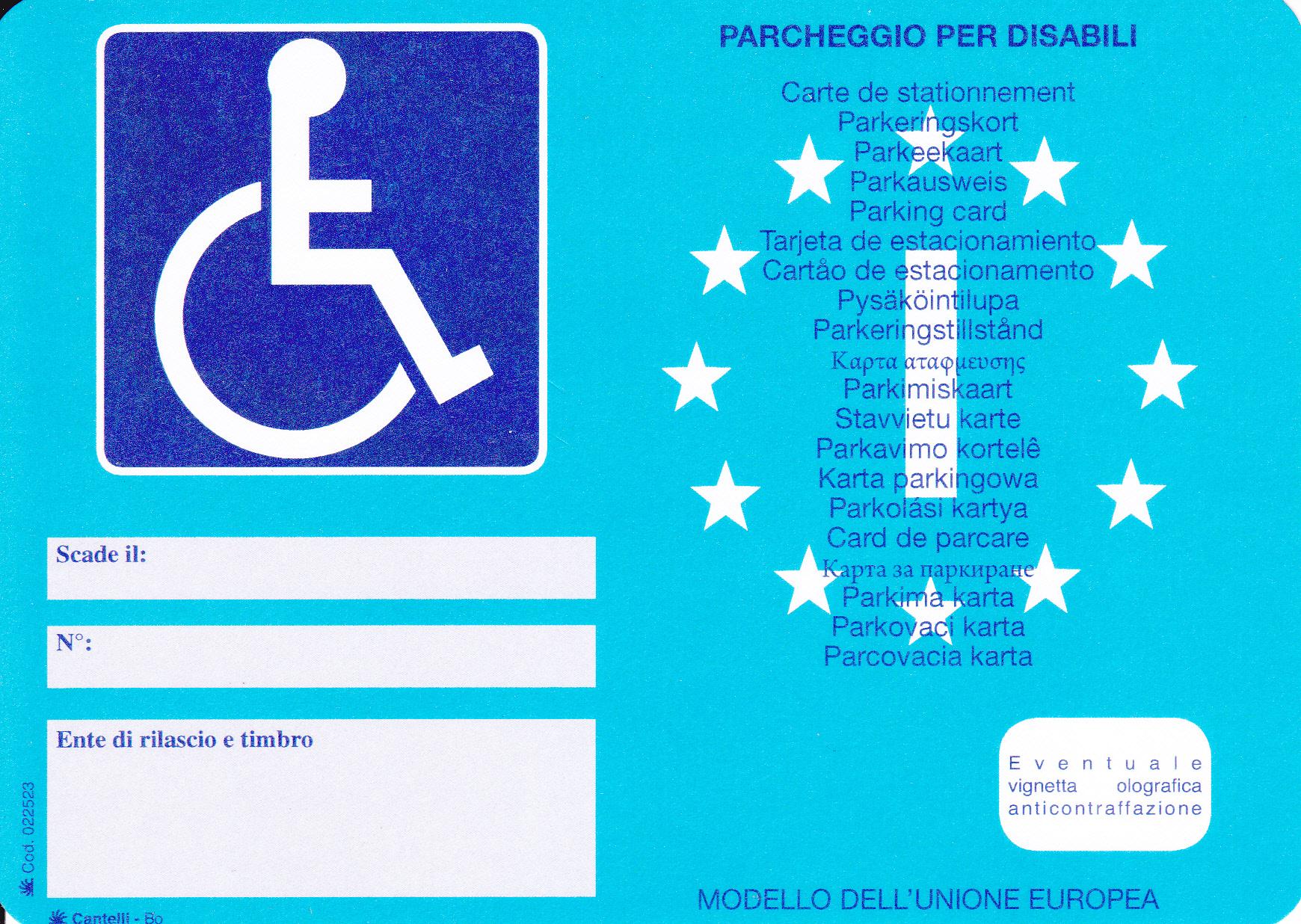 fac simile contrassegno invalidi