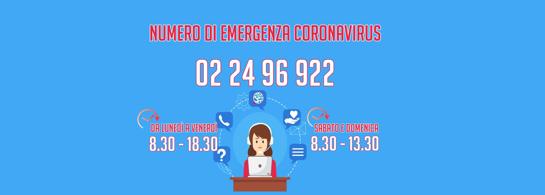 Coronavirus, attivo il numero 022496922 per fornire supporto alla cittadinanza