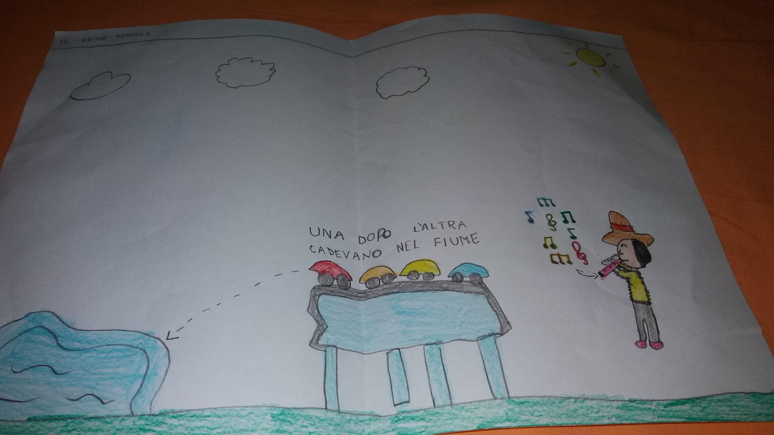 disegno bambino Rodari - Il Pifferaio