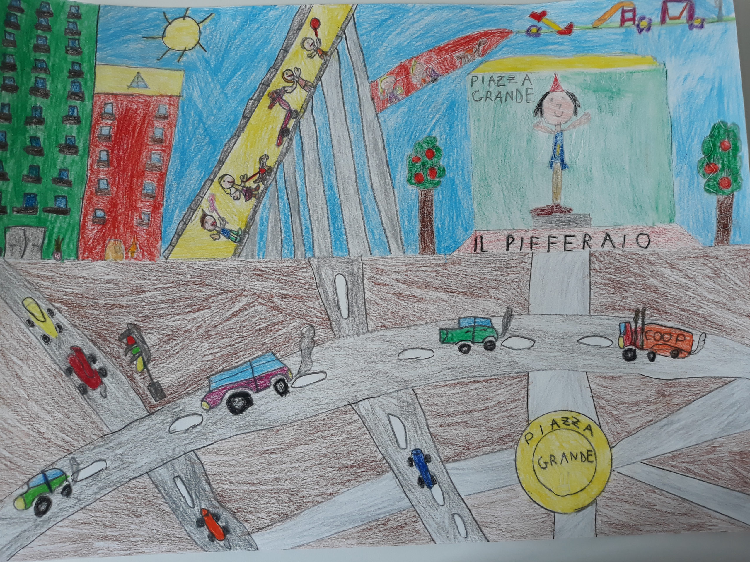 disegno bambino Pifferario Rodari