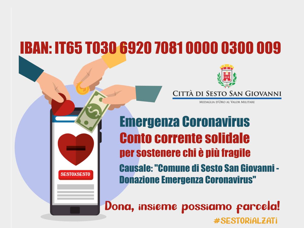Emergenza Coronavirus: un conto corrente solidale per sostenere chi è più fragile