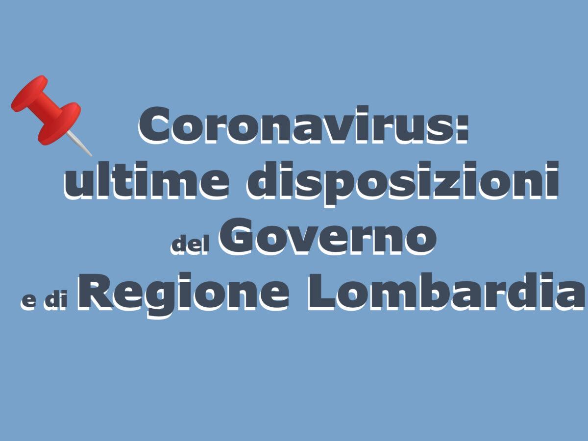 Coronavirus: le nuove disposizioni